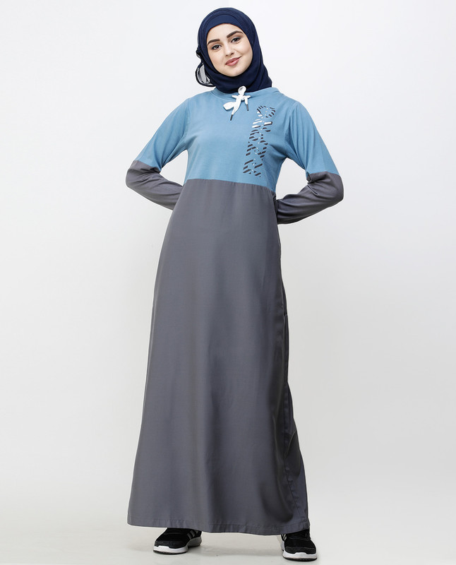 Asphalt Grey & Blue Drawstring Jilbab