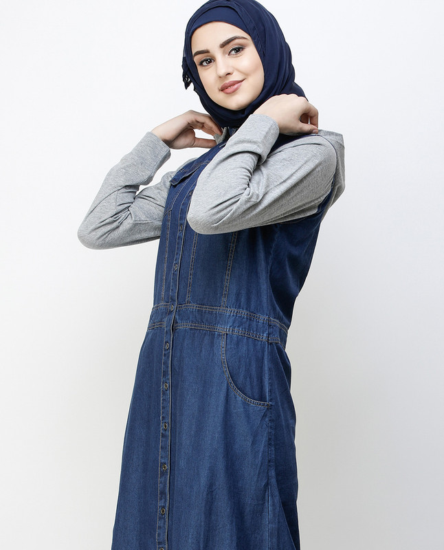 Blue Denim Detachable Hoodie Full Front Open Jilbab