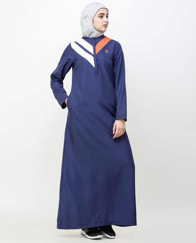 Navy Blue Jilbab With Chevron Contrast Stripes
