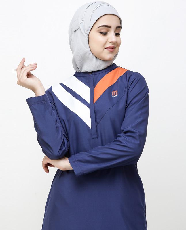 Navy Blue Jilbab With Chevron Contrast Stripes