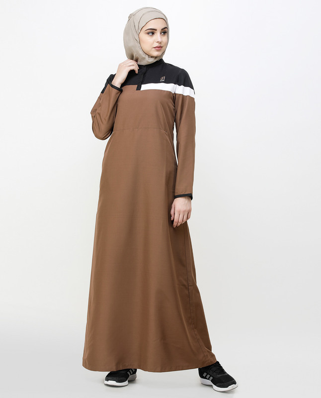 Brown Patina Kangaroo Pocket Jilbab