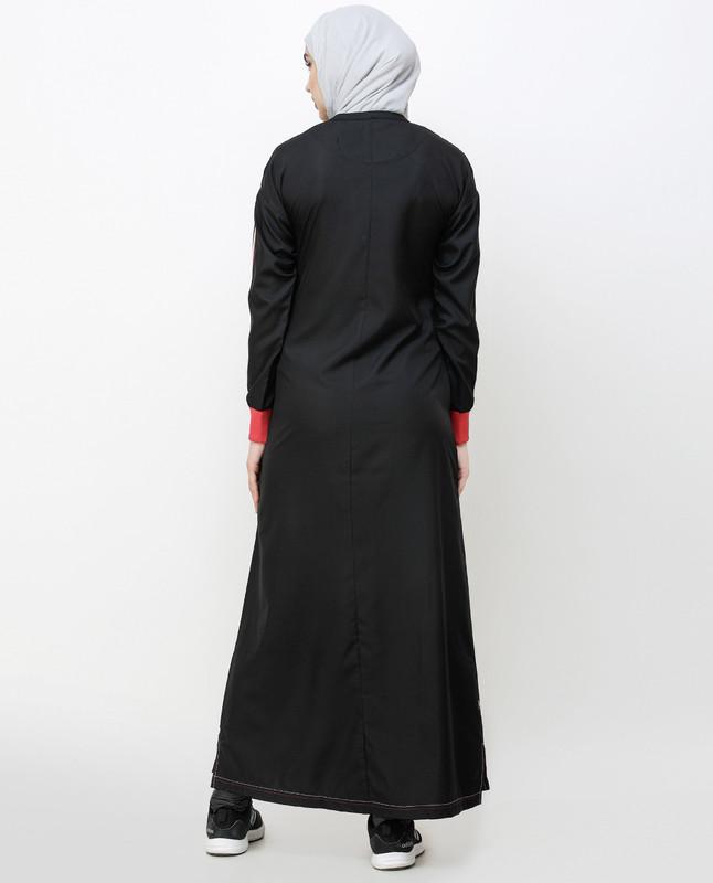 Midnight Black Striped Sleeve Jilbab