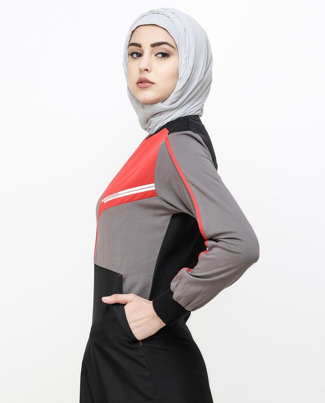 Black And Grey Kangaroo Pocket Jilbab