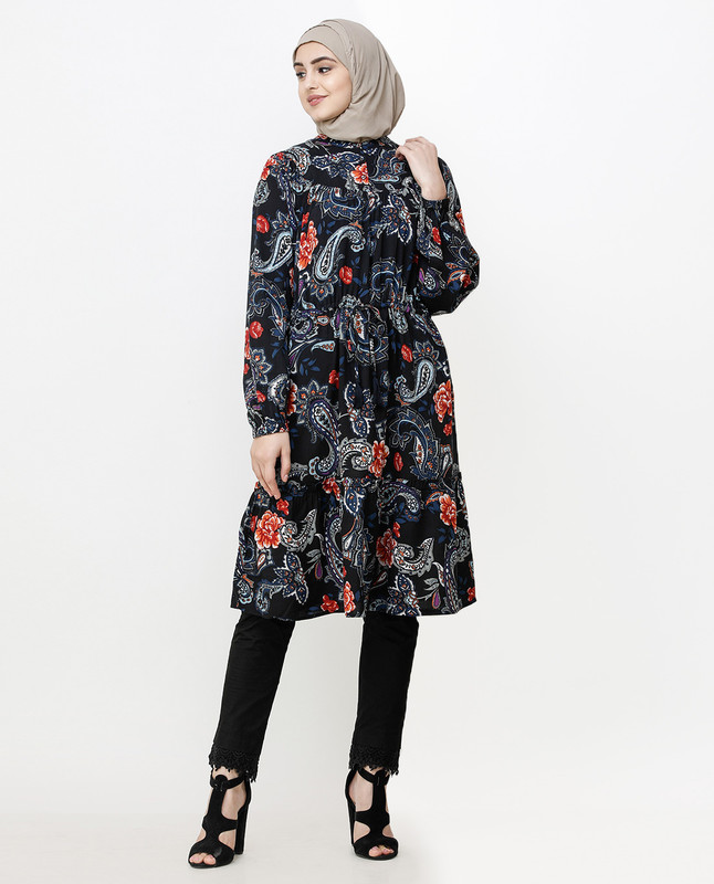 Black Paisley Balloon Sleeve Midi Dress