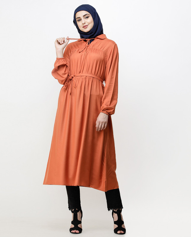 Rust Peter Pan Collar Midi Dress