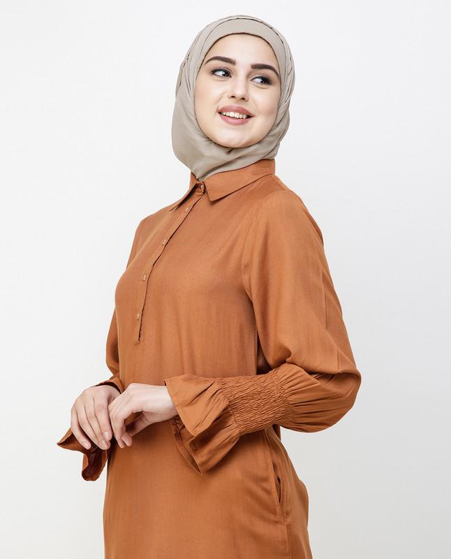 Glazed Ginger Smocked Sleeve Midi Dress