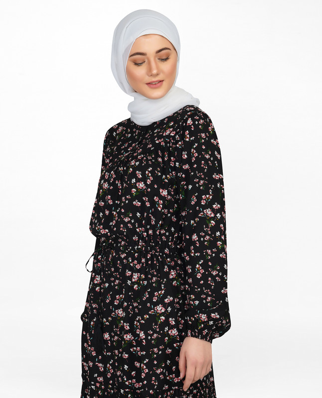Floral Black Balloon Sleeve Midi Dress