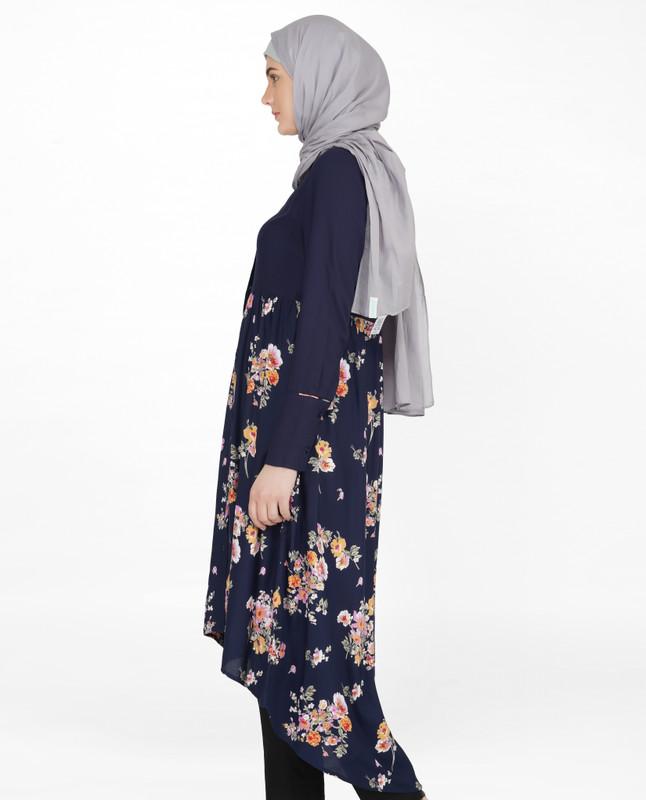 Navy Solid & Floral Mix Shirt Dress