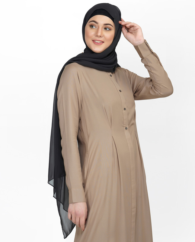 Curved Collar Slim Waist Brown Abaya