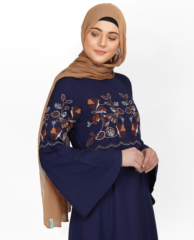 Navy Embroidered Bell Sleeve Abaya