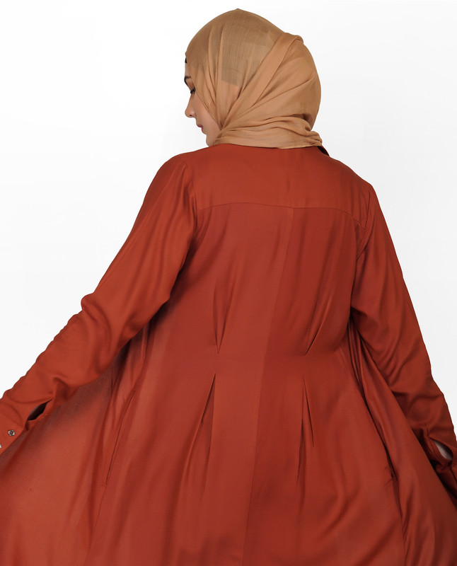 Curved Collar Slim Waist Sequoia Abaya
