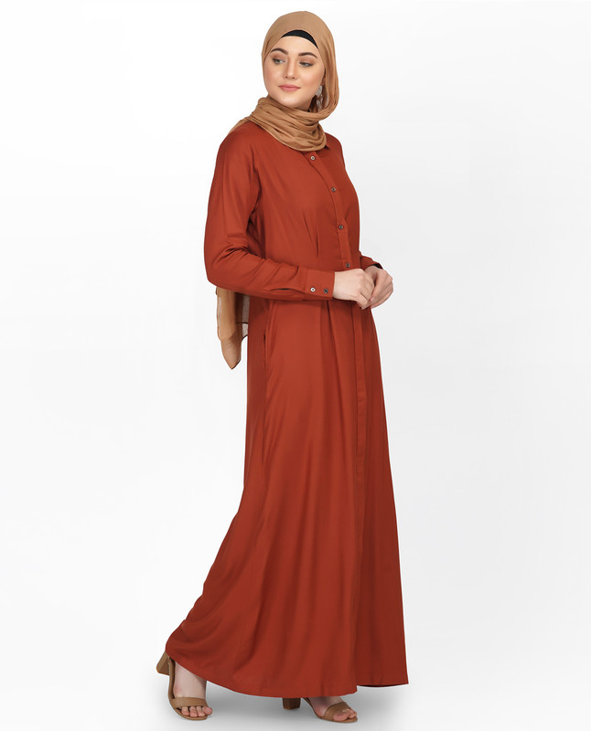 Curved Collar Slim Waist Sequoia Abaya