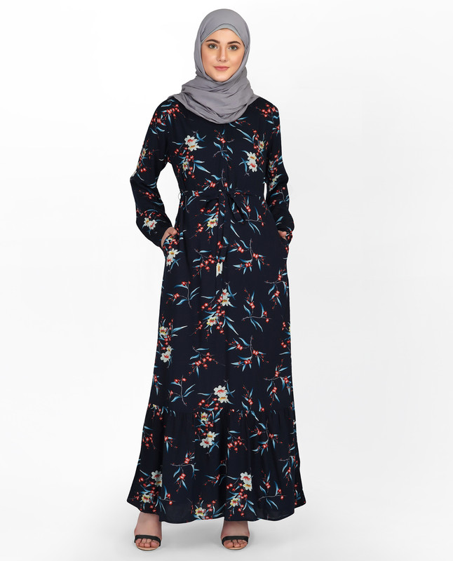 Deep Navy Floral V Neck Abaya
