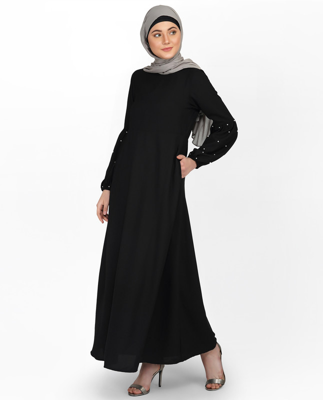 Pearl Embellished Black Puffed Sleeve Abaya