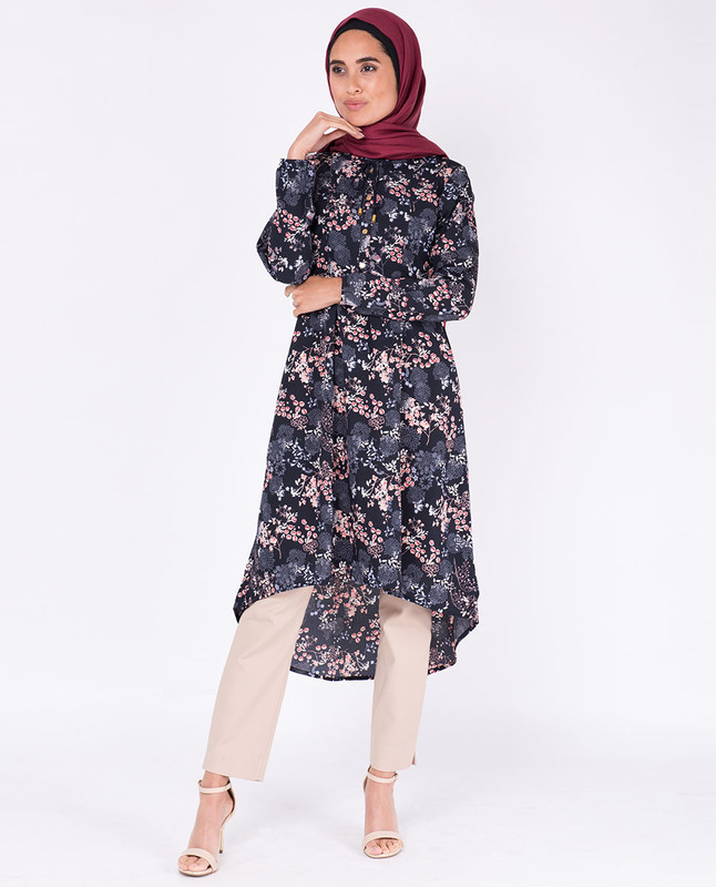 Black Floral Gathered High Low Midi Dress