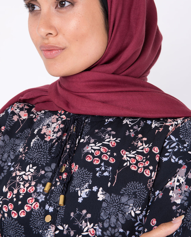 Black Floral Gathered High Low Midi Dress