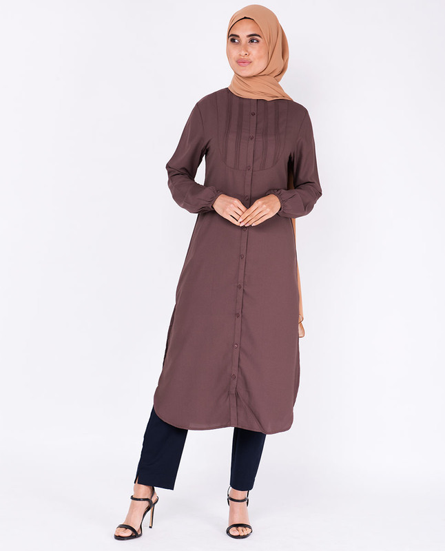 Deep Taupe Pin Tuck Shirt Dress