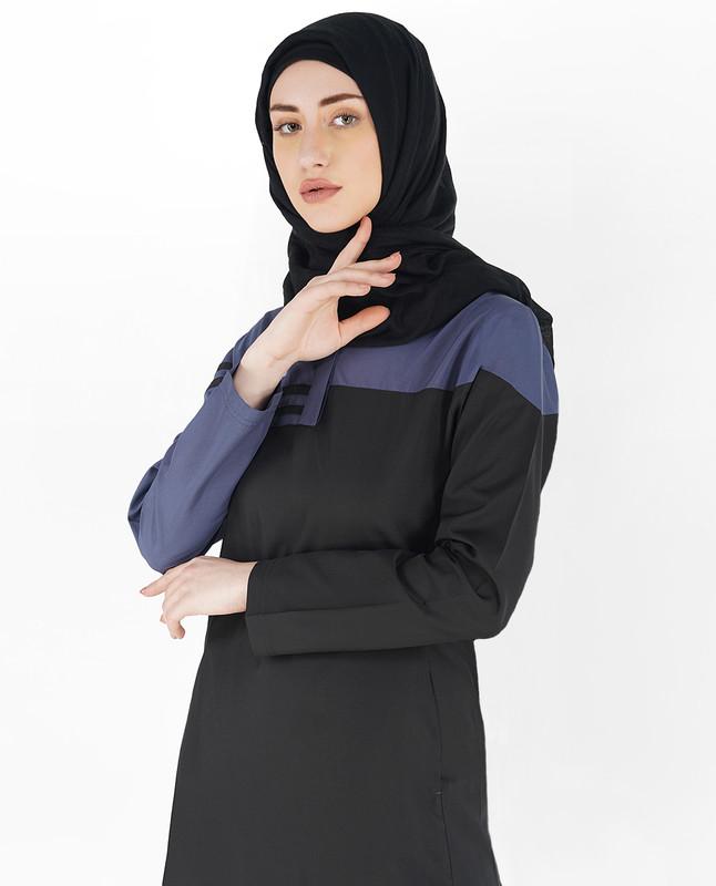 Jet Black and Blue Double Stripe Jilbab