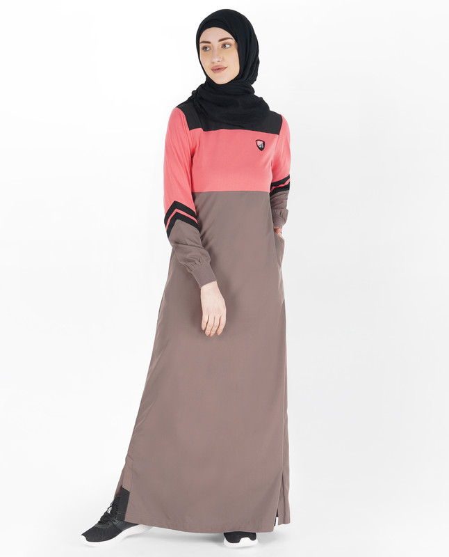 Brown and Rose Pink Shoulder Opening Jilbab