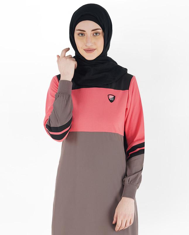 Brown and Rose Pink Shoulder Opening Jilbab