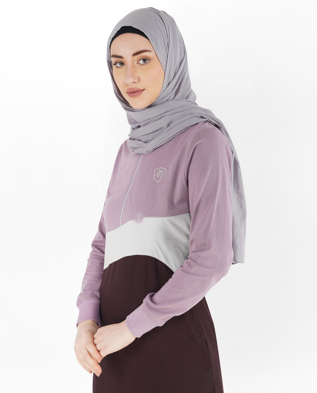 Red Mahogany and Lilac Baseball Collar Jilbab