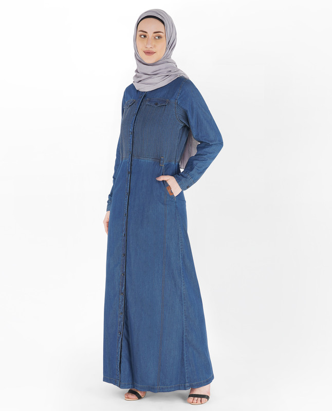 Blue Denim Full Front Open Jilbab