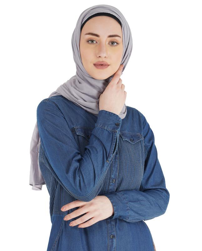 Blue Denim Full Front Open Jilbab