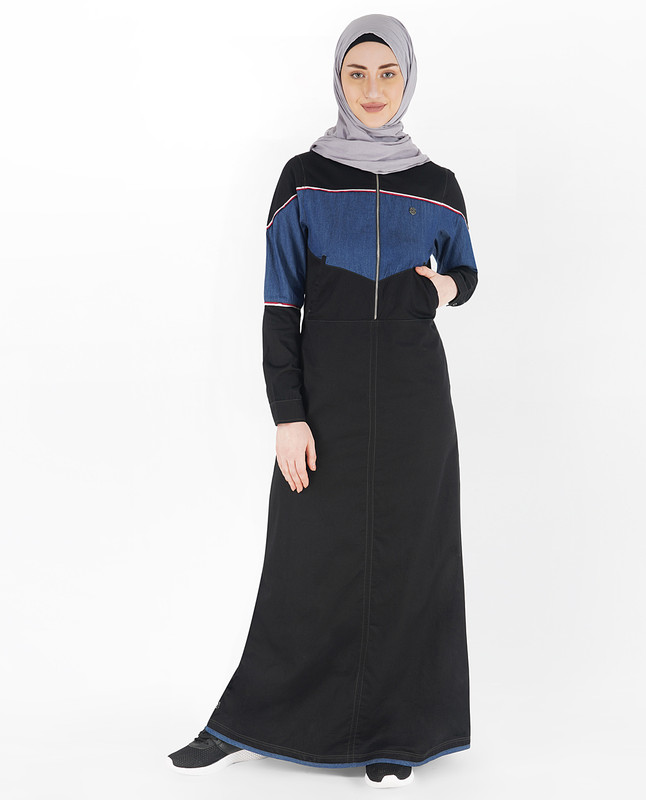 Black and Blue Front Zipper Jilbab