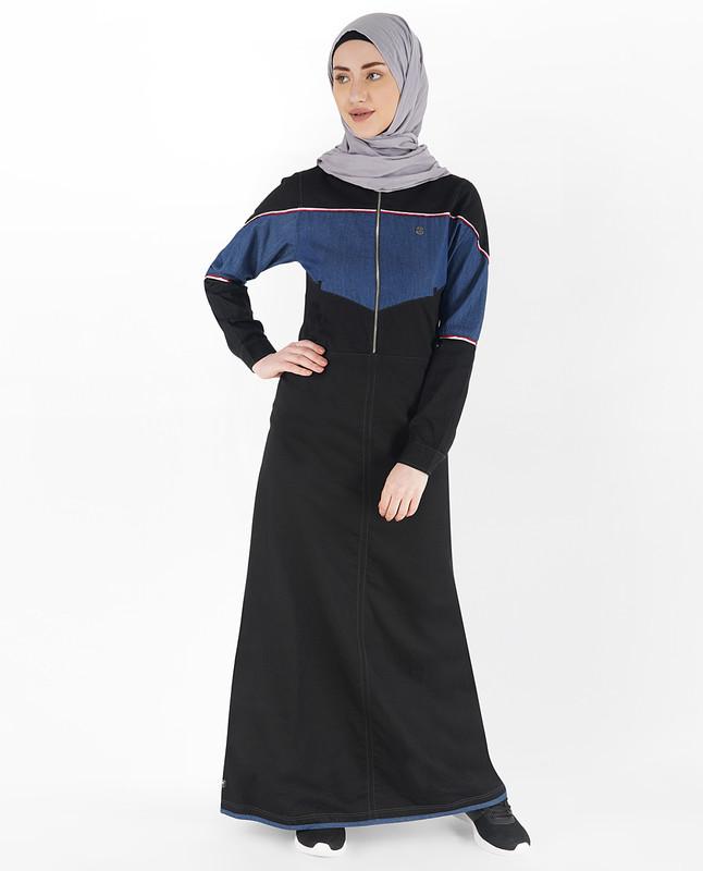 Black and Blue Front Zipper Jilbab