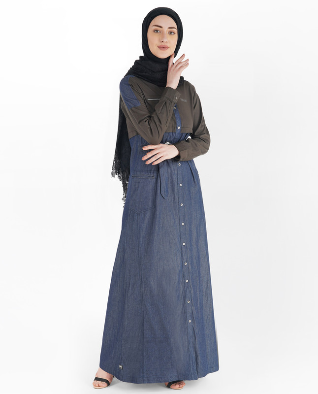 Blue Denim Full Front Open D-Ring Jilbab