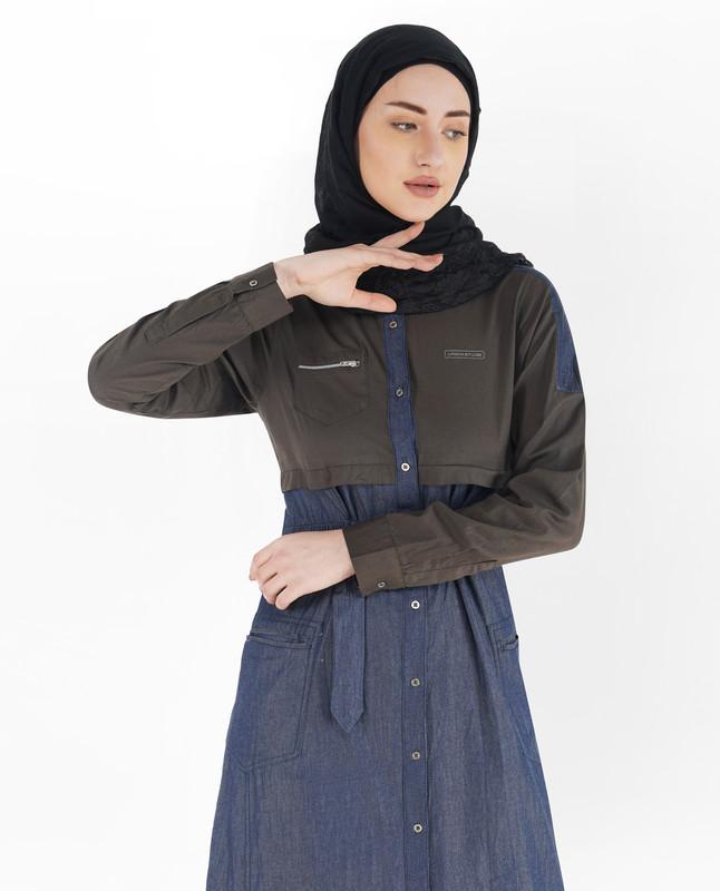 Blue Denim Full Front Open D-Ring Jilbab