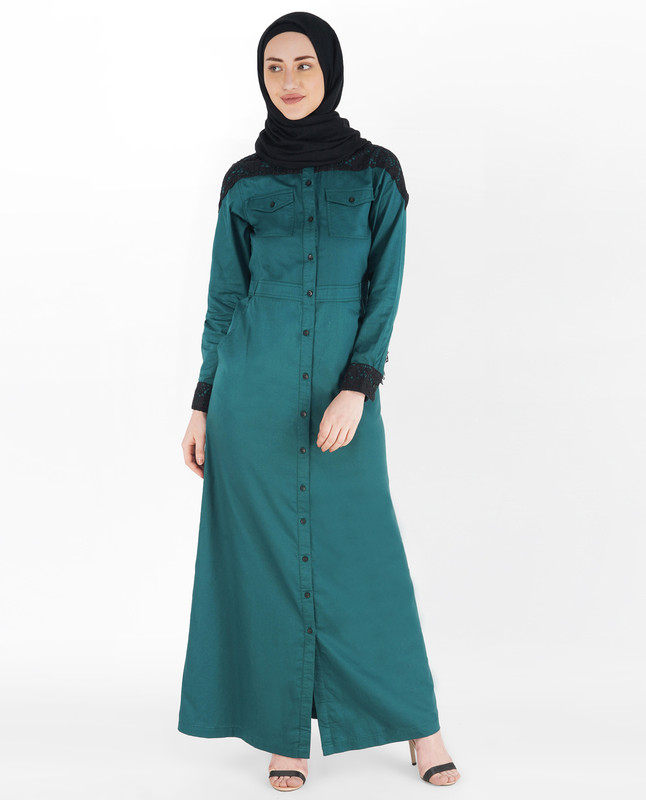 Balsam Green Full Front Open Laced Abaya