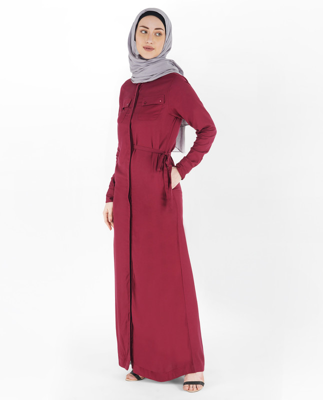 Half Waist Belt Full Front Open Abaya
