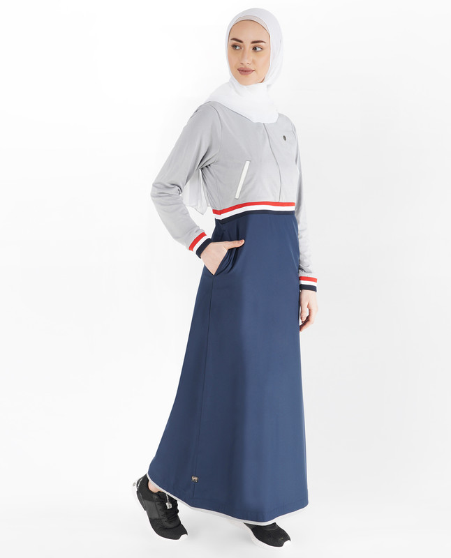 Blue and Grey Baseball Collar Jilbab