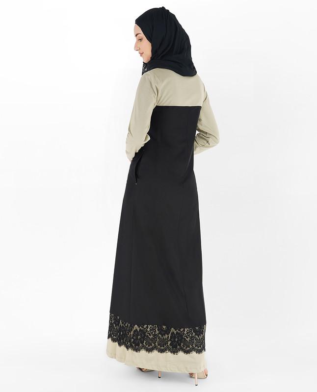Black and Coat Grey Laced Abaya