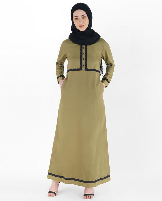 Khaki Olive Laced Abaya