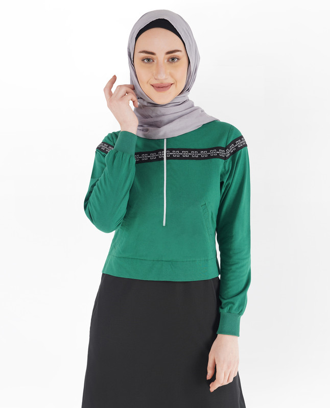 Black and Verdant Green Gathered Abaya