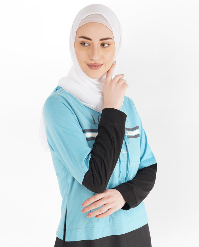 Black and Milky Blue Hoodie Jilbab
