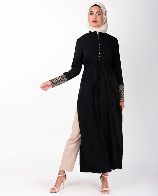 Black Long Side Slit Gathered Waist Midi