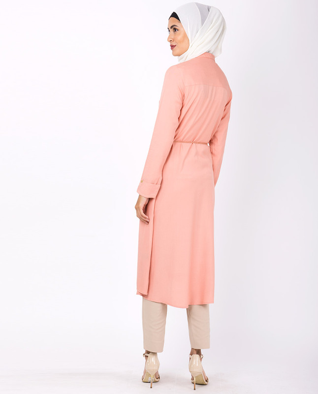Salmon Pink Embroidered High Low Midi