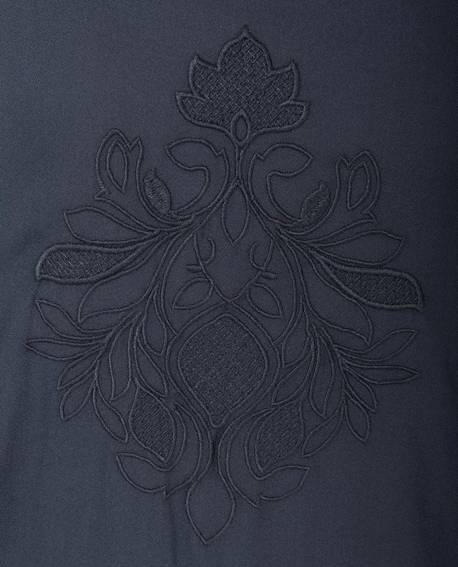 Black Handkerchief Embroidered Midi Dress
