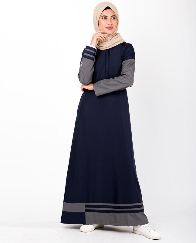 Navy & Grey Striped Hem Jilbab