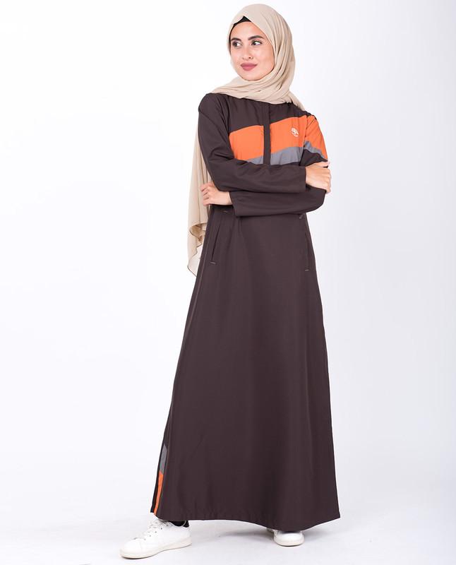 Chocolate Brown Diagonal Stripe Jilbab