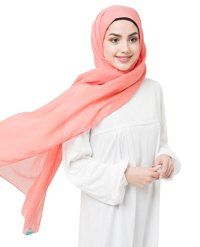 Coral Pink Cotton Voile Scarf