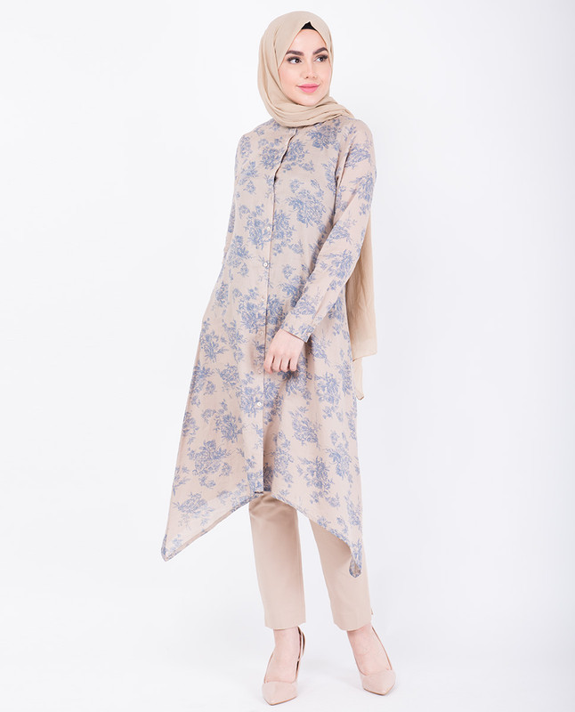 Beige Floral Handkerchief Shirt Dress
