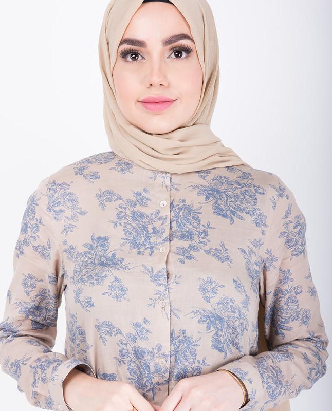 Beige Floral Handkerchief Shirt Dress