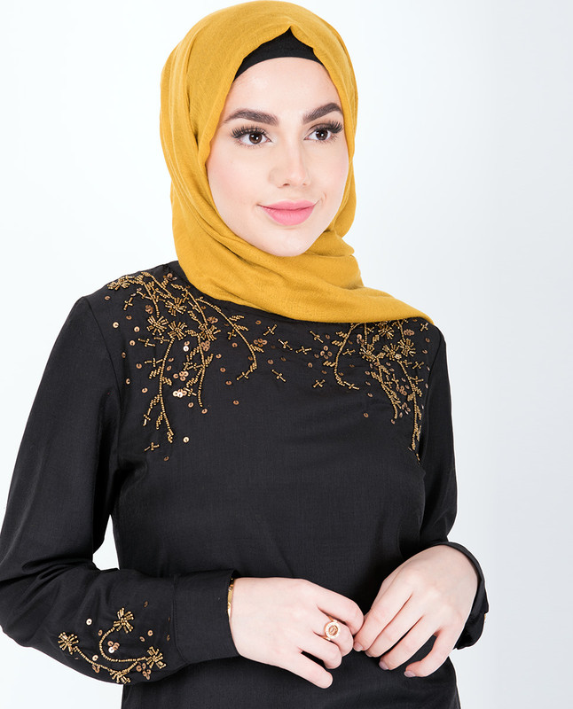 Black With Gold Beads Midi Dress