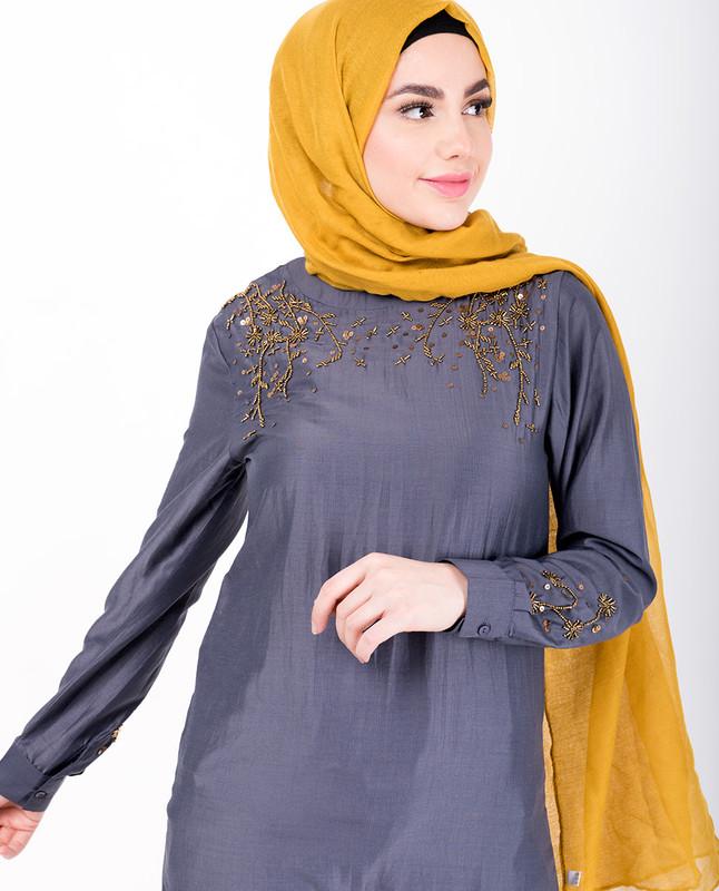 Grey With Gold Beads Midi Dress