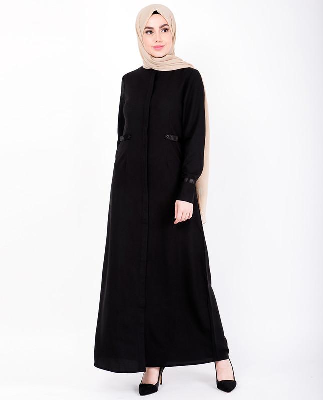 Black Statin Detail Abaya