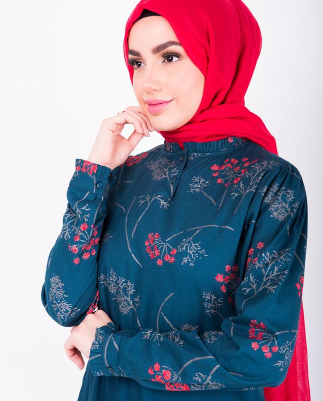 Navy Floral Frill Abaya